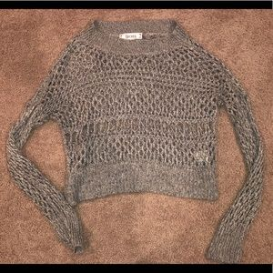 Wide Neck Knit Crop Sweater